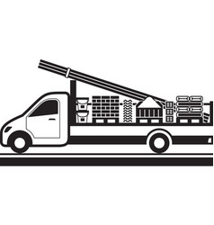 Tipper truck with construction materials vector