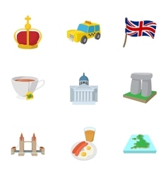 Tourism in United Kingdom icons set cartoon style vector