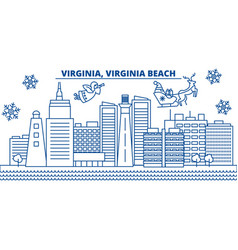 Usa virginia virginia beach winter city skyline vector