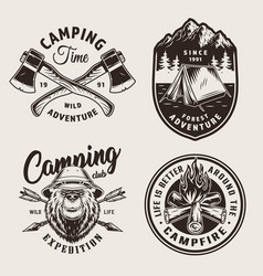 vintage monochrome camping logos vector image