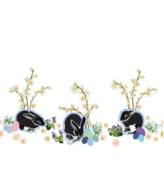 white border with flowers rabbit and egg vector image