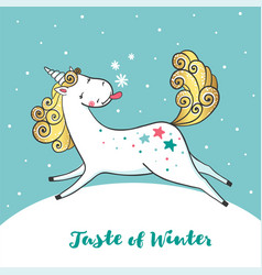 winter card with cute unicorn and snowflakes vector image