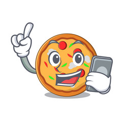 With phone pizza character cartoon style vector