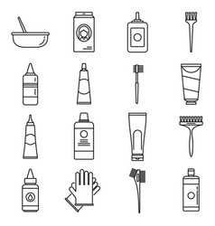 Woman hair dye icons set outline style vector