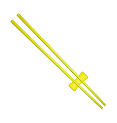 wooden chopsticks in yellow design vector image