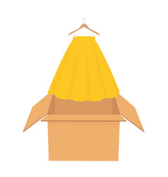 Yellow elegant skirt on hanger shopping sale vector