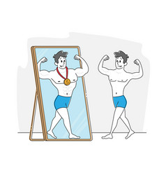 Young man looking on reflection in big mirror vector
