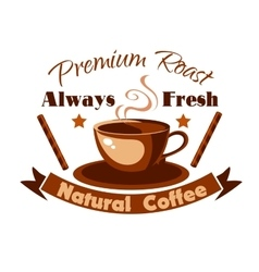 Always fresh natural coffee icon vector image vector image