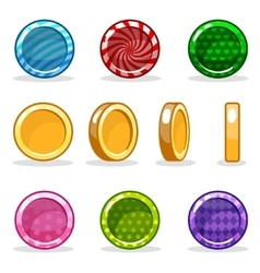Cartoon colorful glossy Coin set game animation vector image