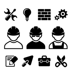 Industrial worker icons set vector image