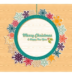 Retro wooden Christmas bauble banner vector image