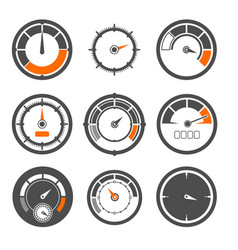 Set of different speedometers vector