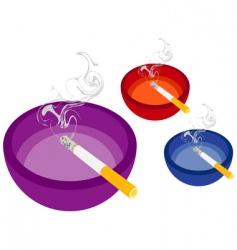smoking cigarette and ashtray vector image vector image