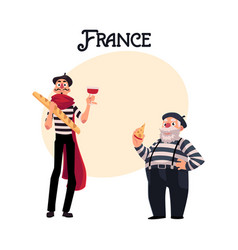 two french mimes young and old with symbols of vector image vector image