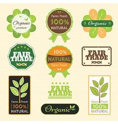 Badge Set of Certified Organic Natural farm fresh vector image