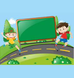 Board design with two boys on the road vector
