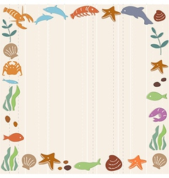 Frame with ocean life vector image vector image