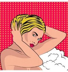 Sexy nude pop art girl vector image