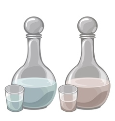 Two bottle of milk and filled cups drink vector image vector image