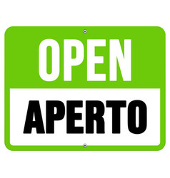 Aperto sign in black and green vector image