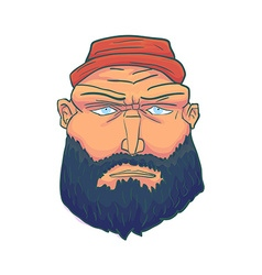 Cartoon Brutal Man Face with Beard and Red Hat vector image