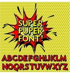 Cool Pop Art Font Alphabet vector image