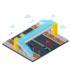 Isometric City Road with Pedestrian Bridge vector image