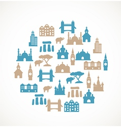 Landmark icons vector image vector image