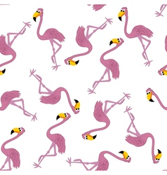 Seamless Funny Cartoon Flamingo vector image vector image