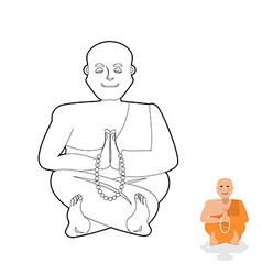 Tibetan monk coloring book Yoga Buddhist Tibet vector image