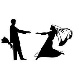 bride and groom silhouettes for wedding design vector image