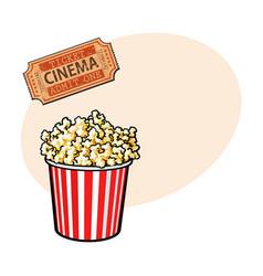 cinema objects - popcorn bucket and retro style vector image