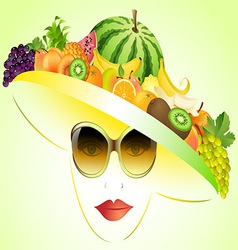 girl and summer fruits vector image vector image