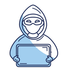 hacker with computer avatar character vector image vector image