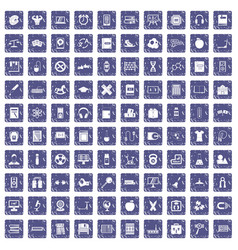 100 learning kids icons set grunge sapphire vector