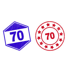 70 unclean badges in circle and hexagonal shapes vector
