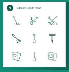 9 spade icons vector