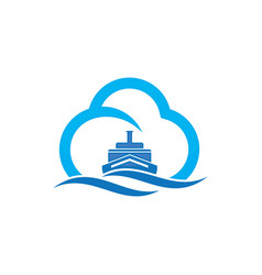 Abstract ship cloud and blue sea waves vector