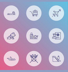 Airport icons line style set with passport control vector
