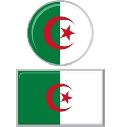 Algerian round and square icon flag vector