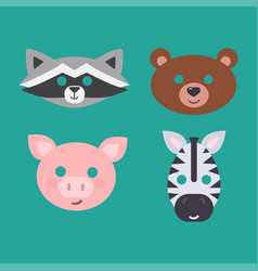 animals carnival mask set festival vector image