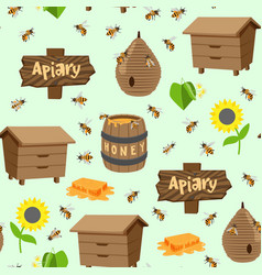 Apiary beekeeping honey jar vector