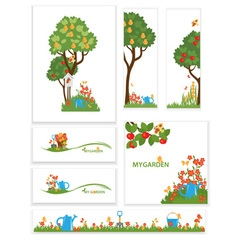 Apple trees and flowers in the garden vector image