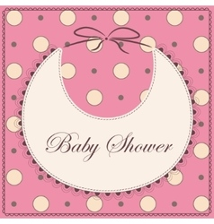 Baby shower with bib pink vintage vector