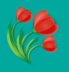 Background three red tulip flowers with green vector