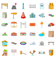 beautiful city icons set cartoon style vector image
