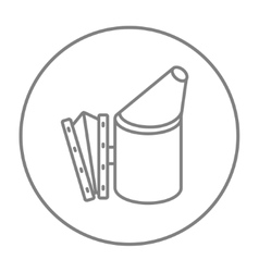 Bee hive smoker line icon vector