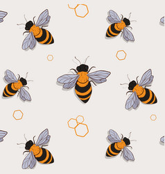 Bee pattern funny colorful bees flying summer vector
