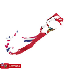 Bermuda map with waving flag country vector