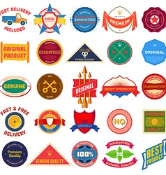 Big set of flat colored vintage labels vector image